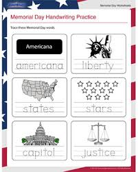 memorial day handwriting practice u2013 memorial day worksheet for
