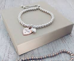 engraved charms sterling silver slider bracelet with engraved charm