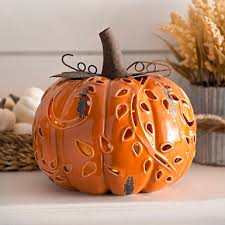 ceramic pumpkins pre lit white ceramic pumpkin figurine light orange lights and