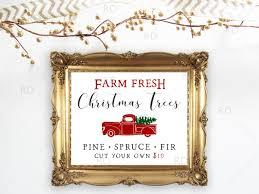 farm fresh christmas tree sign printable wall art trees