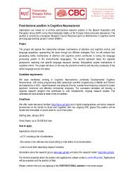 post doctoral position in cognitive neuroscience