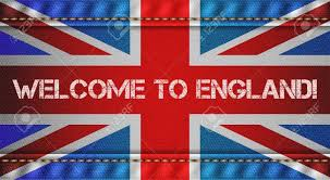 Welcome Flag England Tricolor Flag With Jeans Texture And Welcome Inscription