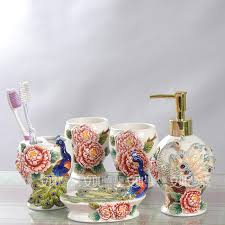 ceramic peacock toothbrush holder soap dish bathroom accessories