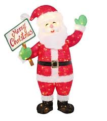 lighted merry christmas yard sign 60 in led lighted tinsel santa with merry christmas sign yard