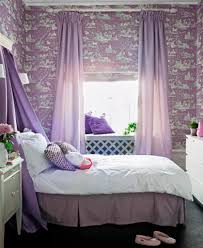 purple bedroom interior with purple pillow and wallpaper in