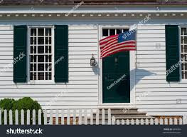 white colonial house picket fence american stock photo 6949354