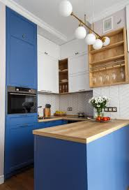 blue kitchen cabinets with wood countertops 75 beautiful small kitchen with wood countertops pictures