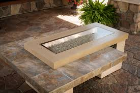 Glass Rocks For Fire Pit by Furniture Ideas Rectangle Fire Pit Table With Granite Table