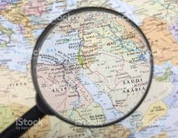 Middle East Country Map by A Magnifier Zooming In Middle East Countries On A Global Map Stock