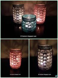 how to make mason jar lights with christmas lights diy crochet lacy shell stitch mason jar lights instruction diy