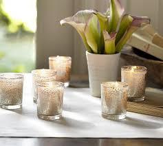 How To Make A Mercury Glass Vase Mercury Glass Votive Candle Set Of 6 Pottery Barn
