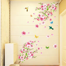 online get cheap cherry blossom tree wall stickers aliexpress com large cherry blossom flower butterfly tree wall stickers art decal home decor china