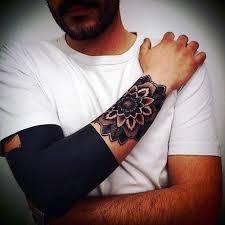 Half Forearm Sleeve - usual black style half sleeve combined with ornamental