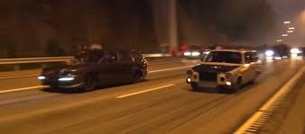 big volvo swedish street racers stop highway traffic nitrous big block