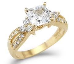 engagement ring gold solid 14k yellow gold princess cut cz cubic zirconia