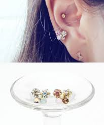 bar earring cartilage 16g butterfly swarovski barbell ear piercing stud