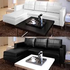 canape d angle noir canapé d angle canapé de salon 3 places modulable en cuir artificiel