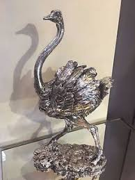 silver ostrich bird sculpture resin safari animal ornament