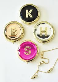 gold monogram monogram compact mirrors