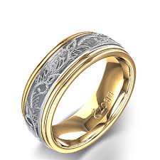 ring of men scroll and leaf design carved men s wedding ring in 14k two tone