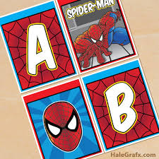 printable spider man alphabet banner pack