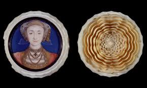 box in the form of a rose with a minuture portrait of anne of