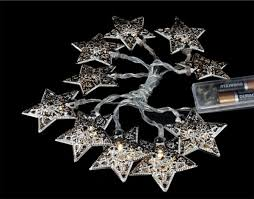 battery operated star lights battery operated silver metal star string lights 10 warm white led