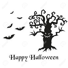 spooky clip art spooky silhouette of halloween tree and bats vector illustration