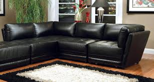 Black Leather Armless Chair Bonded Leather Black Sectional