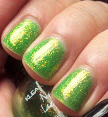 glitter dust bling sparkly bright green nail art 4 gel natural