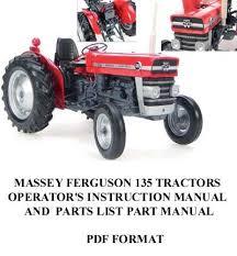 massey ferguson 135 tractor operator u0027s manual part list for sale