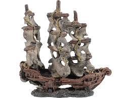 mystery pirate ship aquarium ornament brown 9 5x4x4 75 in fishy