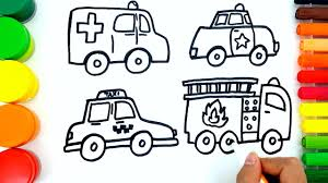 coloring pages for kids to learn colors w ambulance how to draw
