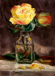 yellow roses with tips small paintings yellow roses with tips