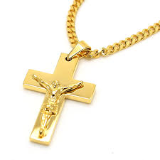 necklace cross gold images Gold color jesus cross pendants high quality fashion hiphop franco jpg