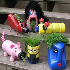 Upcycling Crafts For Adults - old bottles new buddies cute upcycled planters for kids