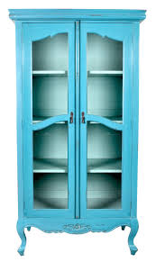 tall turquoise antique display cabinet with double glass doors and