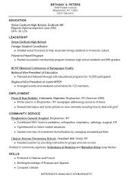 Example College Resumes by Resume For A Highschool Student With No Work Experience Sample