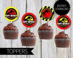 jurassic park cake topper jurassic park birthday party printable centerpieces instant