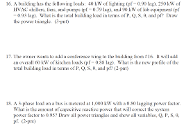 power factor for lighting load solved a building has the following loads 40 kw of light
