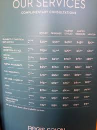 prices at regis hair salon new to rogers july 2017