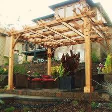 Backyard Brick Patio Design With 12 X 12 Pergola Grill Station by Best 25 Cedar Pergola Ideas On Pinterest Pergolas Pergola And