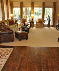 patterned carpet and scraped wood floor traditional