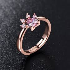 pink crystal rings images Cute bear paw cat claw opening adjustable ring rose gold rings for jpg