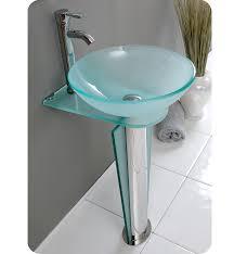 Glass Bathroom Sinks And Vanities Fresca Vitale 17 Modern Glass Bathroom Vanity With Faucet And