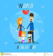 Family Day Invitation Card Health Day Family Holding Hands Over World Globe Stock Vector