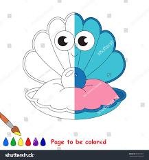 the color book funny blue sea shell coloring book stock vector 673013617