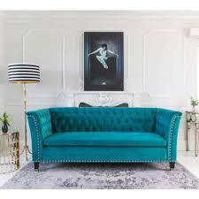 sofas center teal blue velvet sofa studded back and sides