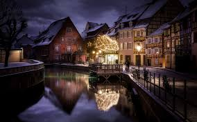 landscape nature city canal house winter snow christmas