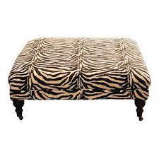 Zebra Ottoman Vintage Used White Ottomans And Footstools Chairish